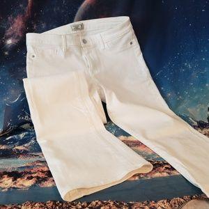 A&F White Denim Flare Pants